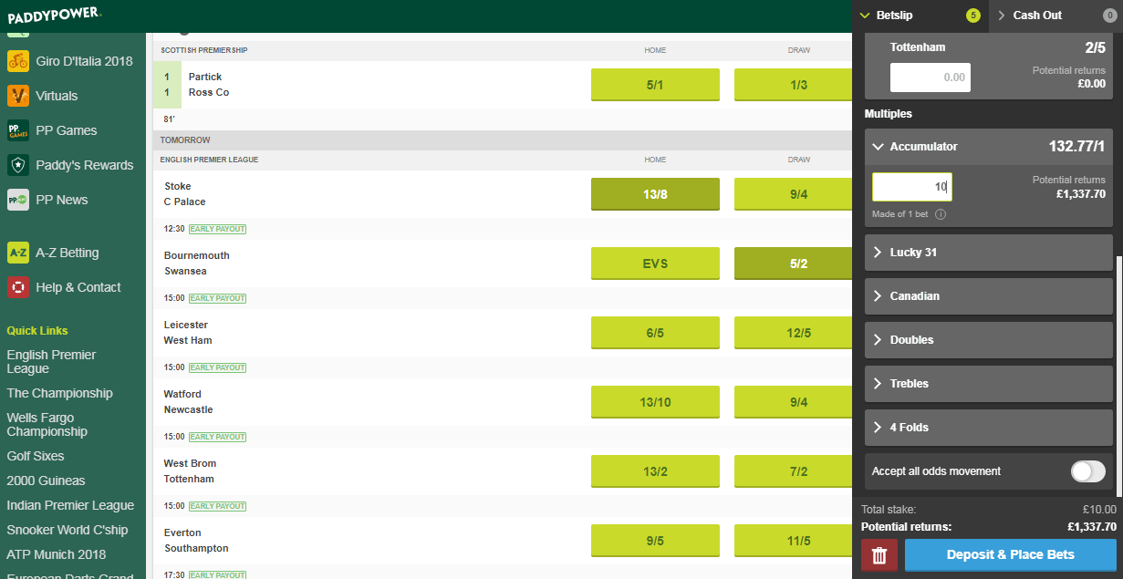 how to place an accumulator bet on paddy power